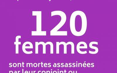 Nous sommes le 11 Octobre et depuis le 1er Janvier 120 femmes sont mortes assassinées sous les coups de leur conjoint ou de leur ex-conjoint